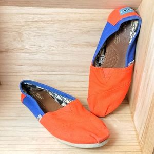 Toms Womens Orange Blue Flat Alpargata Shoes